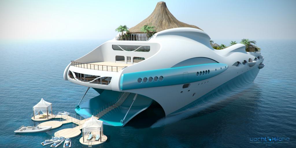 Am hinteren Ende der Yacht gibt eine Plattform mit direktem Meerzugang.