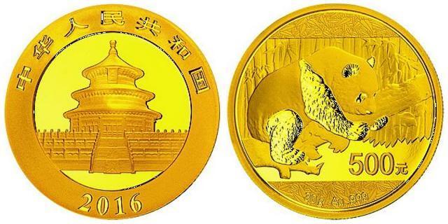 Die Panda-Goldmünze 30 Gramm hat einen Nennwert von 500 Yuan.