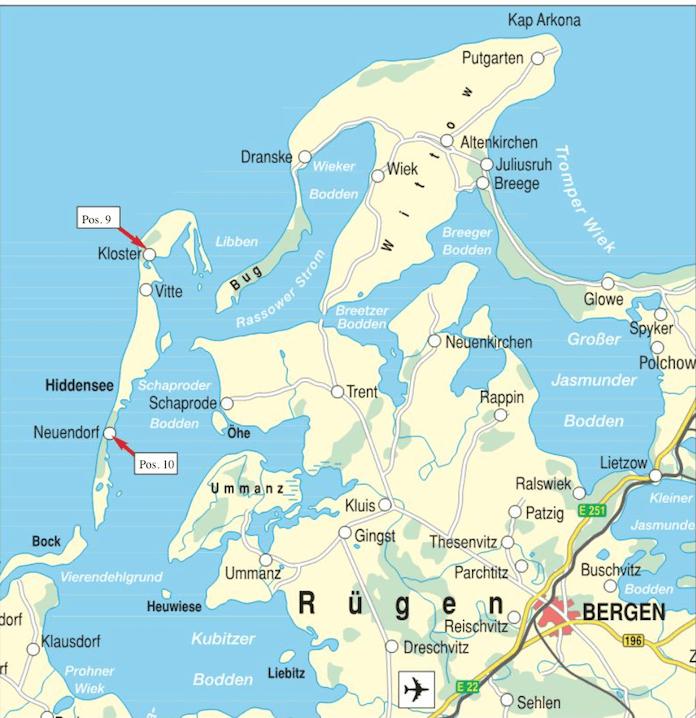 Die Insel Hiddensee liegt westlich von der Insel Rügen und ist für den privaten Autoverkehr gesperrt. Das Hotel Süderhaus liegt südlich in Neuendorf. Das freie Baugrundstück im Norden am Hafen von Kloster. (Karte: Deutsche Grundstücksauktionen AG)