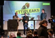 Podiumsdiskussion #TTIPLEAKS by Greenpeace mit Jürgen Knirsch, Stefan Krug und Volker Gassner am 02.05.2016 auf der re:publica in Berlin. (Foto: re:publica)