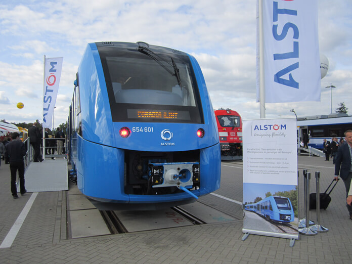 Unveiling the Coradia iLint at the InnoTrans 2016 conference. Source.