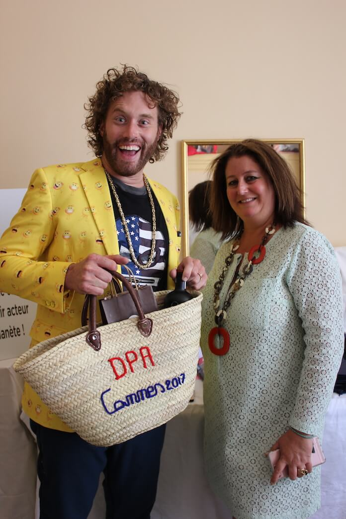 Sillicon Valley's and emoji the Movie star TJ MILLER with DPA CEO Nathalie Dubois- The DPA cannes gifting suite 2017 at the Carlton Hotel